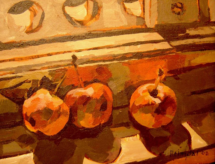 Oil On Canvas Painting - Three Crabapples On A Window Sill by Tim  Heimdal