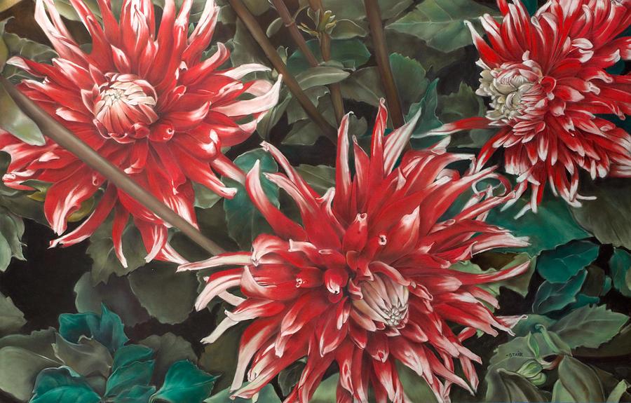 Flowers Pastel - Three Dahlias by Greg Stair