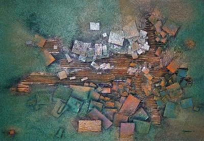 Abstract Painting - Three Dimensional Abstract On Masonite by Richard Olmstead