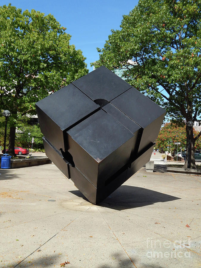 Cube Photograph - Three Dimensional Metal Cube by Phil Perkins