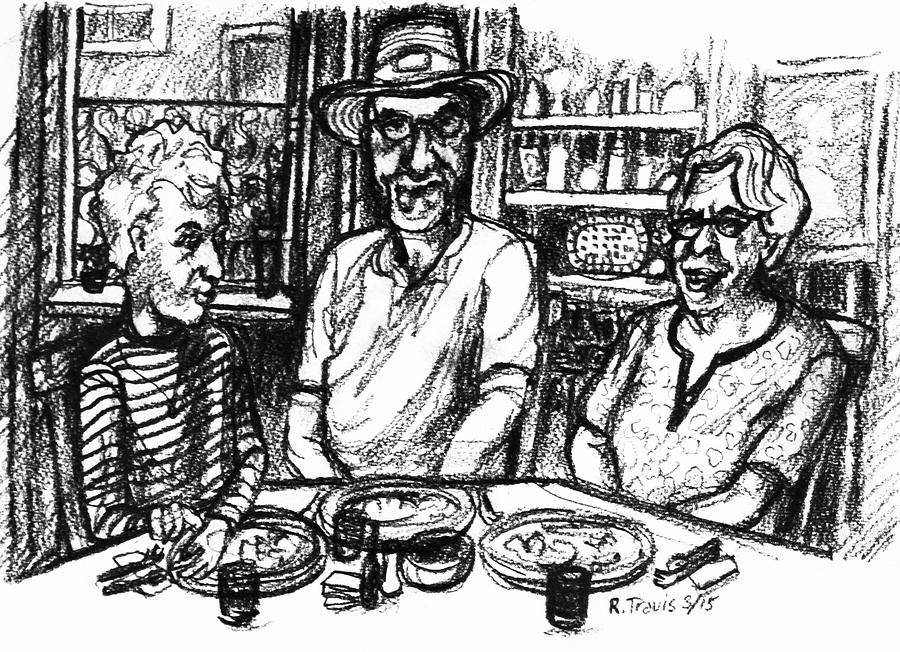 Table Drawing - Three Diners by Rich Travis