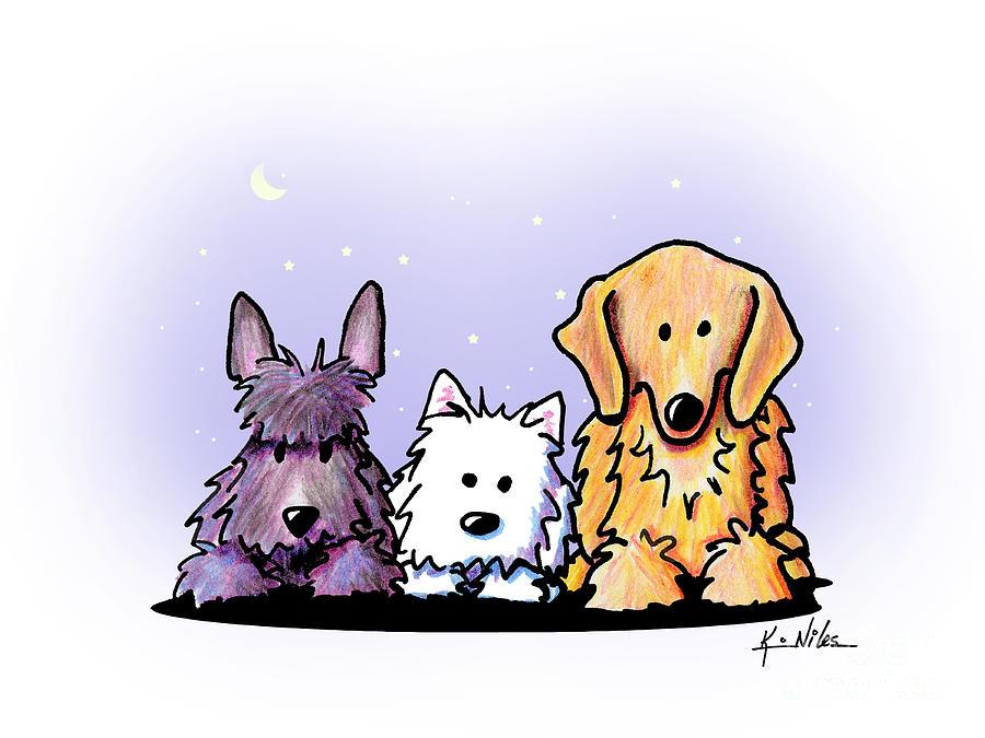 Three Dog Night Drawing By Kim Niles