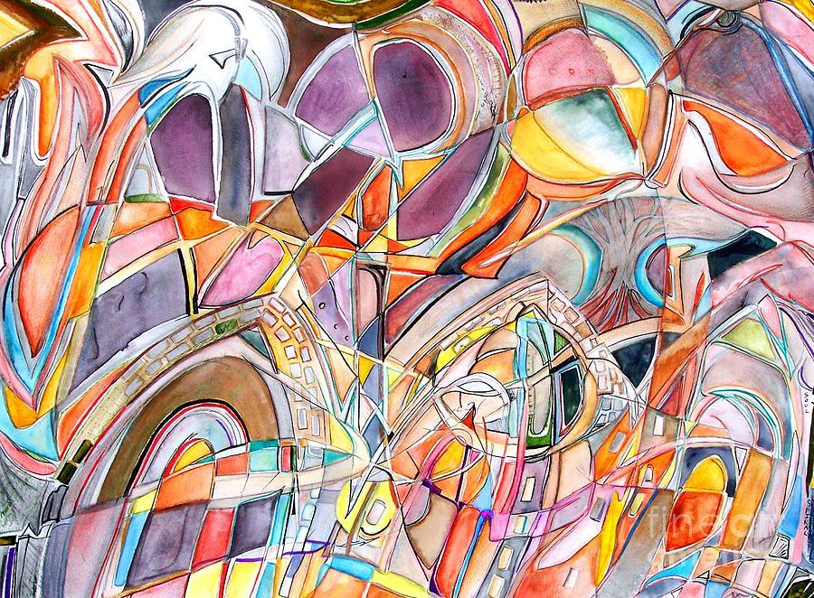 Watercolor Painting - Three Doors by Ed Tajchman
