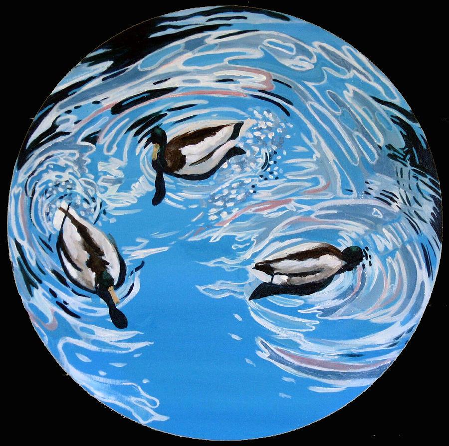 Ducks Painting - Three Ducks by Art Nomad Sandra  Hansen