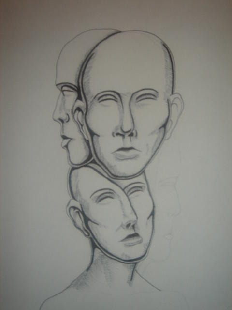 Three Faces Of Eve Drawing by Houston Prior