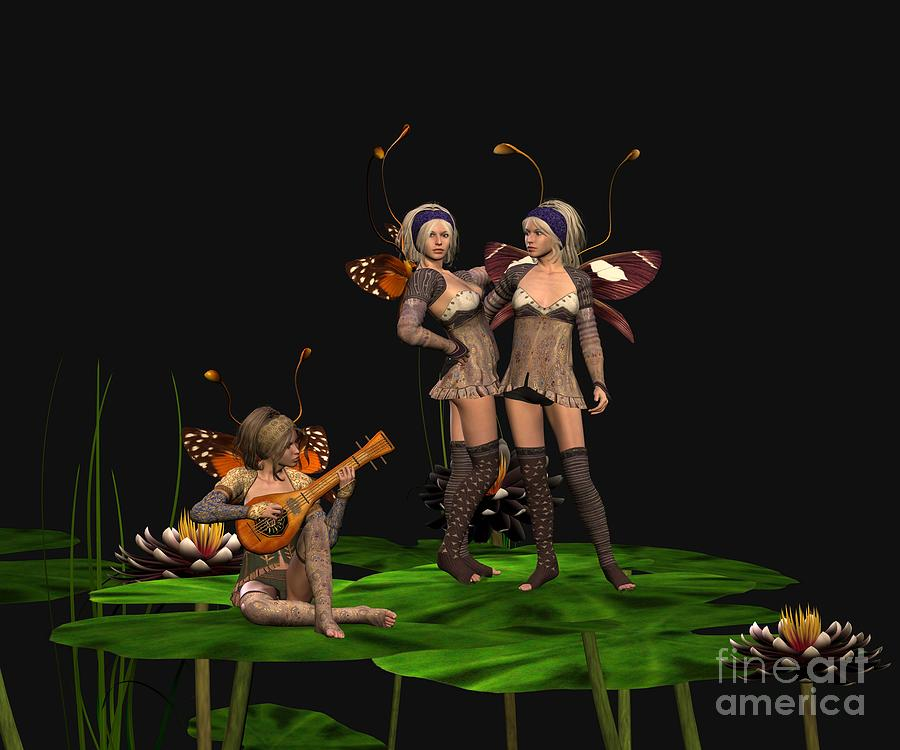 Fanasty Digital Art - Three Fairies At A Pond by John Junek
