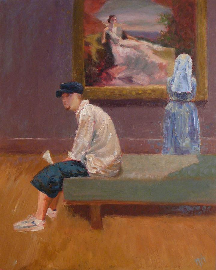 Young Man Painting - Three Figures Contemplating by Irena  Jablonski