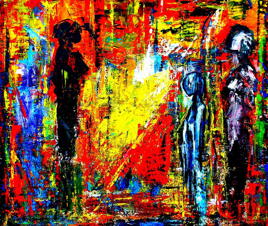 Abstract Painting - Three Figures by Eberhard Schmidt-Dranske