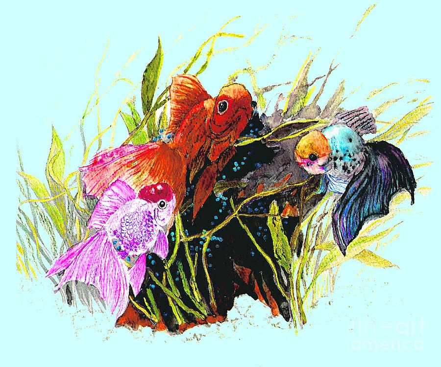 Fish Photograph - Three Fish - Chinese Watercolor Painting by Merton Allen