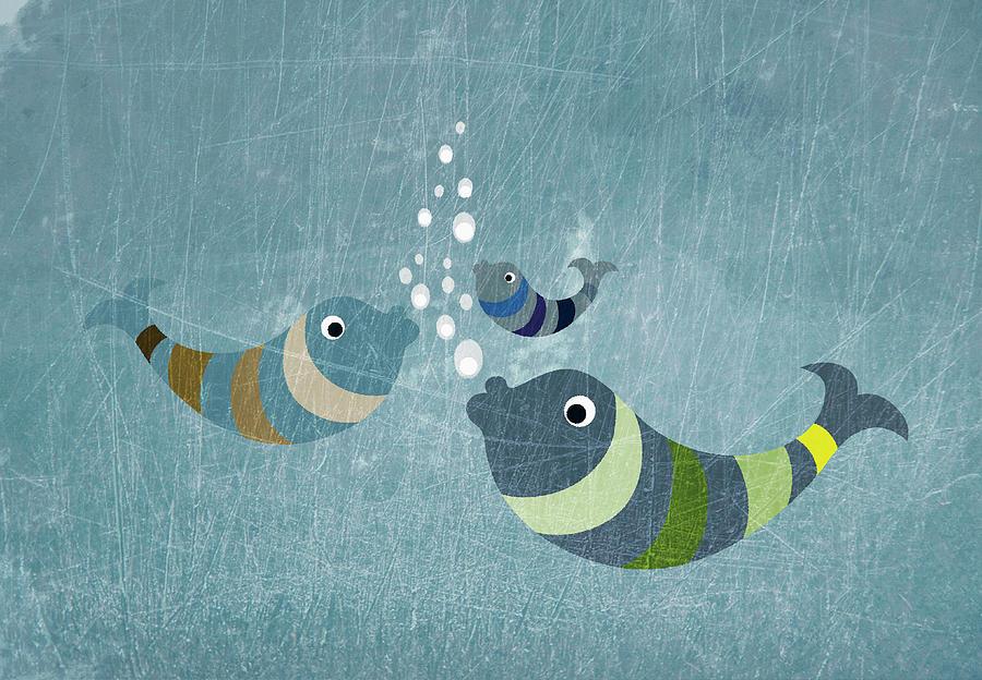 Horizontal Digital Art - Three Fish In Water by Jutta Kuss
