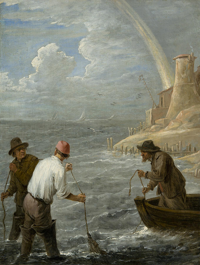 Flemish Painters Painting - Three Fishermen Casting Their Nets by David Teniers the Younger