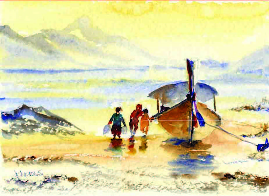 Reflection Painting - Three Fishing Friends  by Beena Samuel