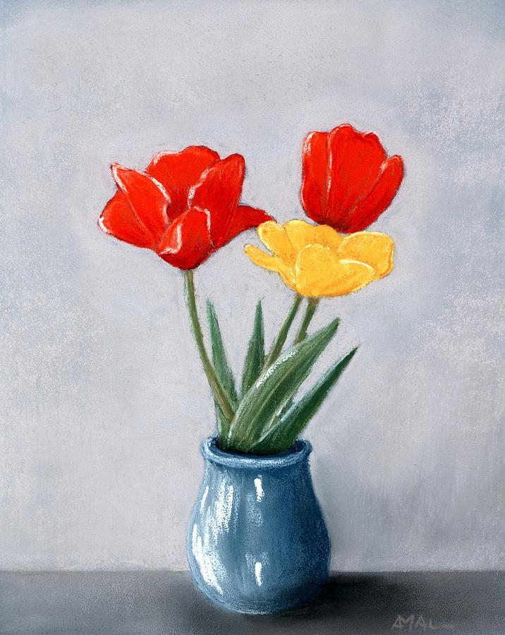flower painting three flowers in a vase by anastasiya malakhova - Vase Painting