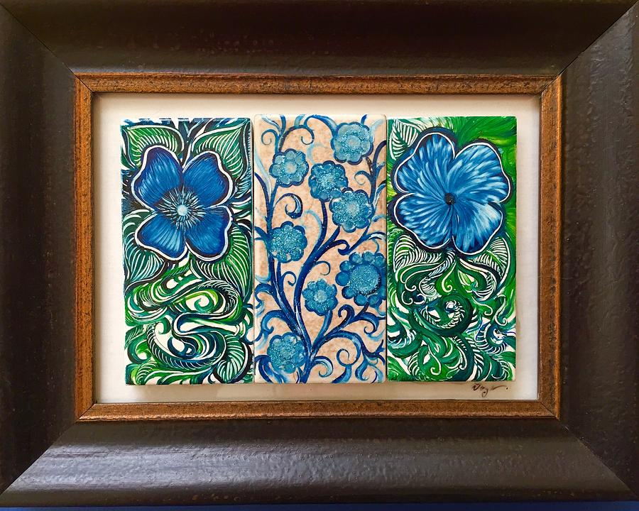Green Painting - Three Flowers by Karen Doyle