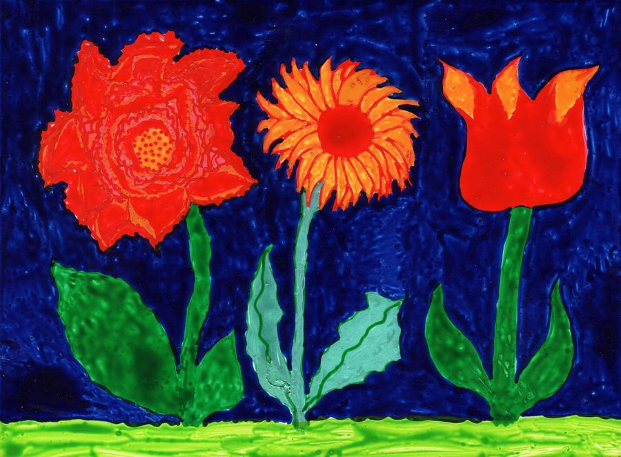 Flowers Painting - Three flowers on indigo by Sushila Burgess