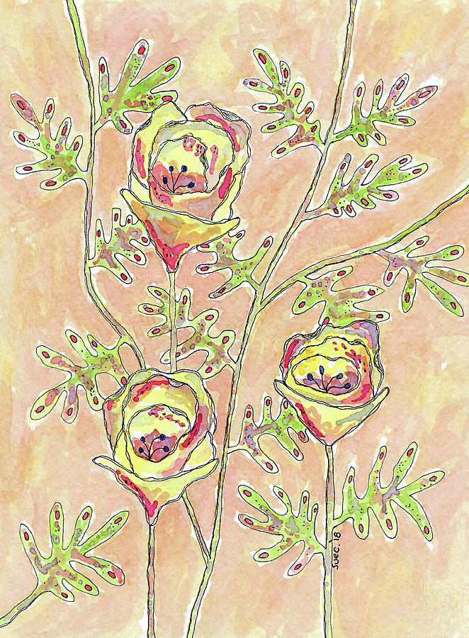 Watercolor And Ink Photograph - Three Flowers by Susan Campbell