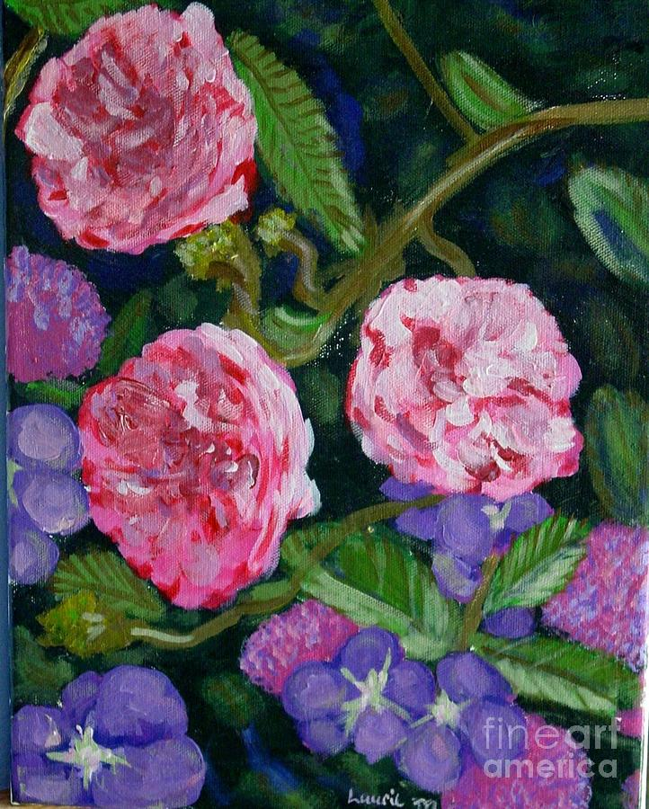 Roses Painting - Three For The Show by Laurie Morgan