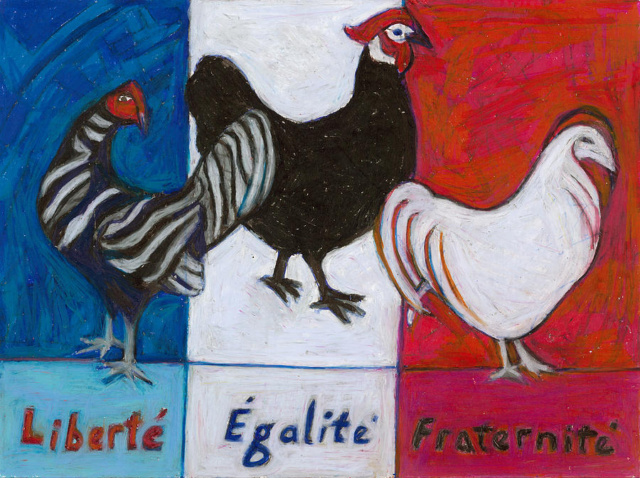 Hens Painting - Three French Hens by Denise Weaver Ross