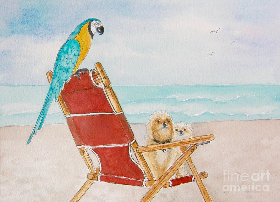 Beach Painting - Three Friends At The Beach by Midge Pippel
