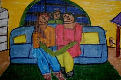 Family Drawing - Three Generations by Annie Dameron