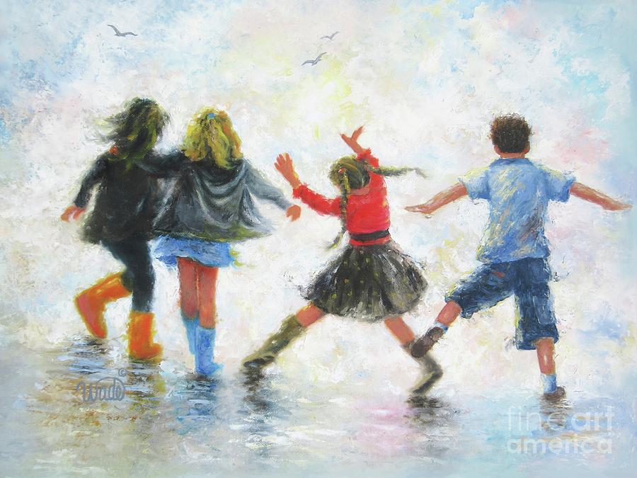 Three Sisters Painting - Three Girls And Boy by Vickie Wade