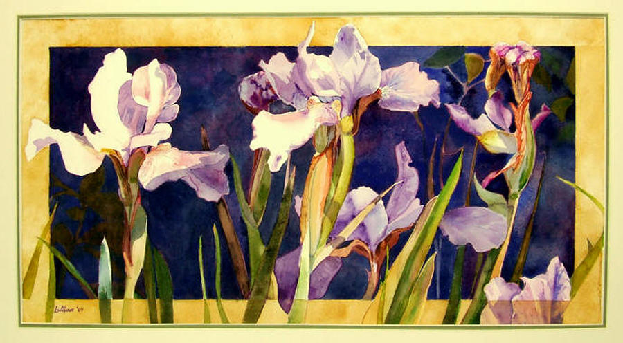 Irises Painting - Three Gossips by Linda  Marie Carroll