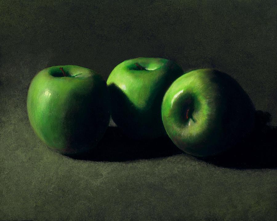 Still Life Painting - Three Green Apples by Frank Wilson