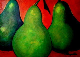 Three Green Pears Painting by Yasemin Raymondo
