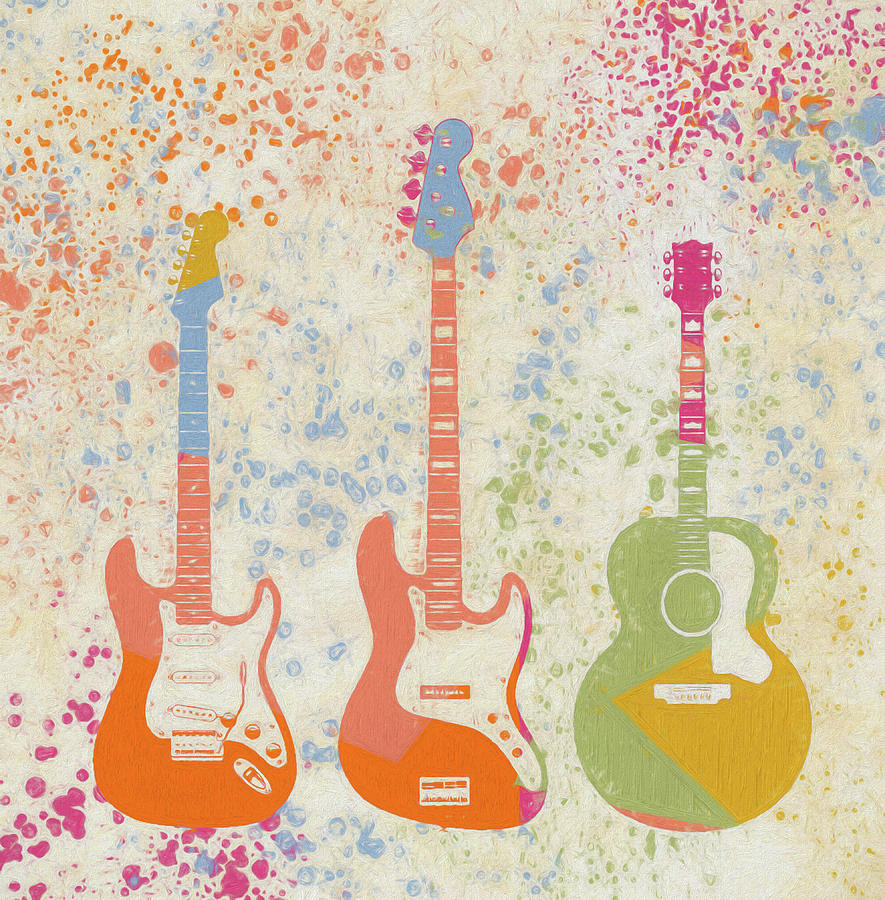 Three Guitars Paint Splatter Painting
