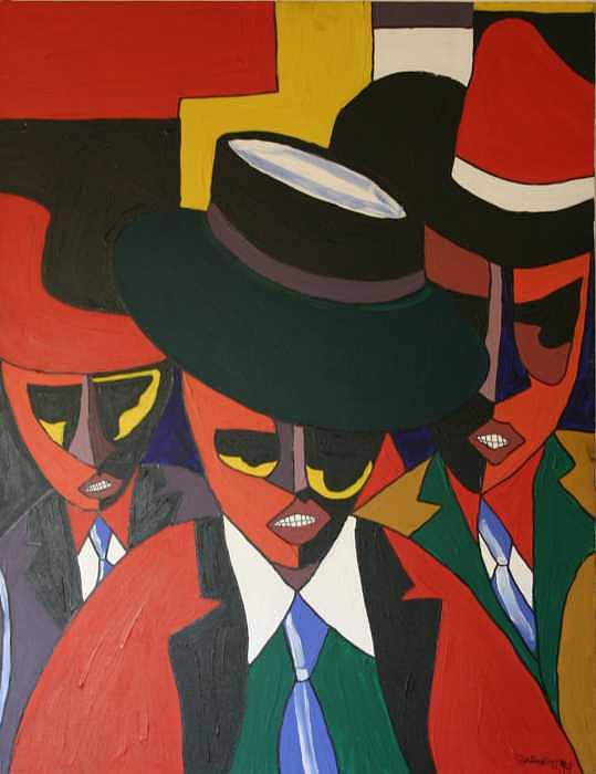 Portrait Painting - Three Guys by Garnett Thompkins