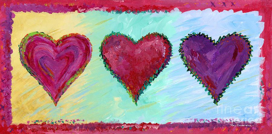 Heart Painting - Three Hearts by Amy Kirkpatrick