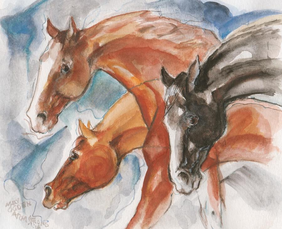 Three horses by Mary Armstrong