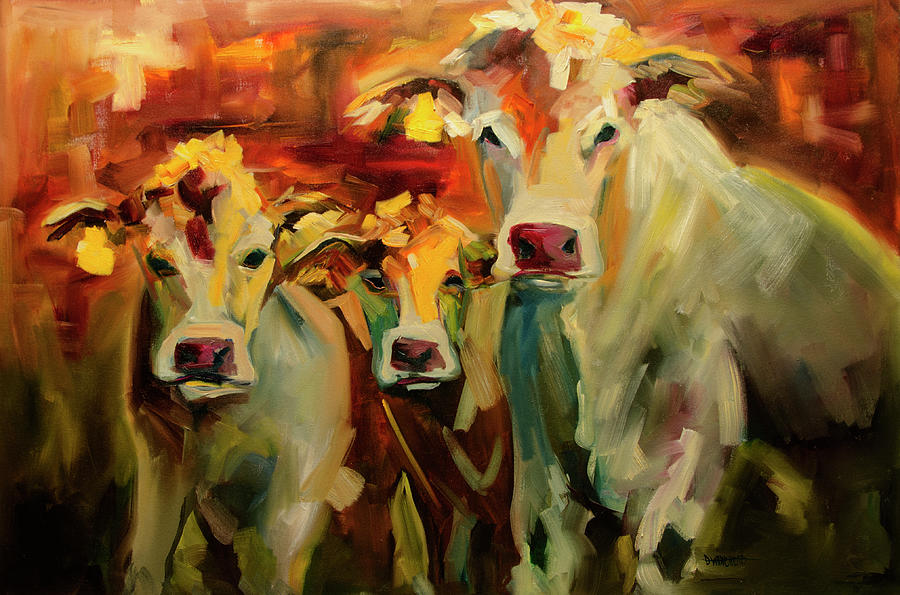 Cow Painting - Three In A Row by Diane Whitehead