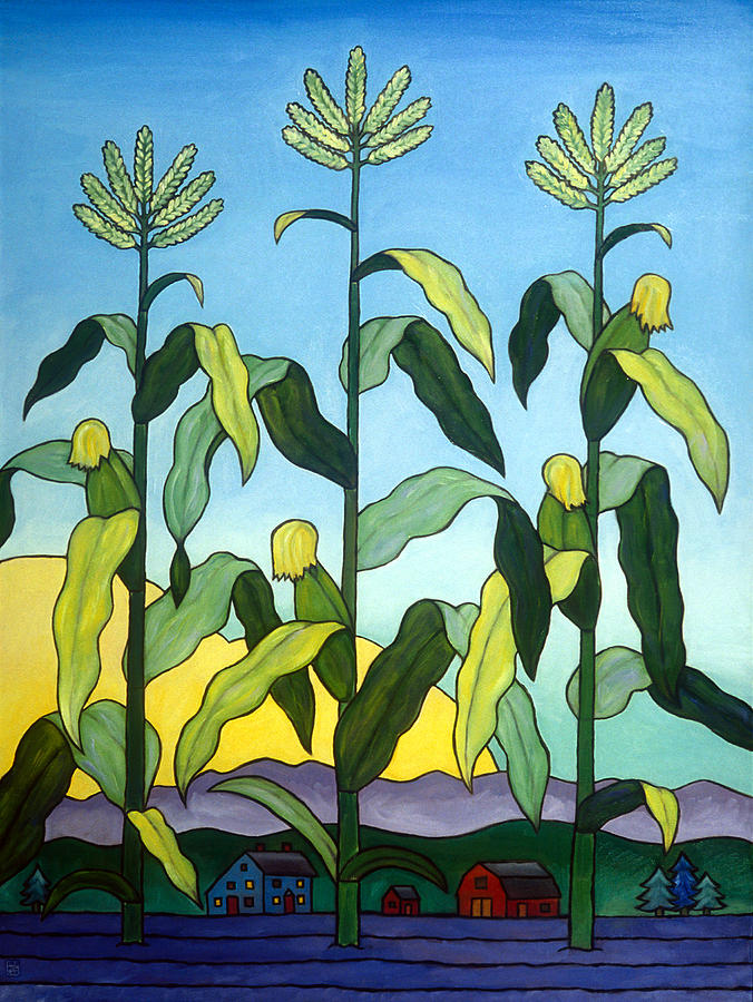 Corn Painting - Three In A Row by Stacey Neumiller