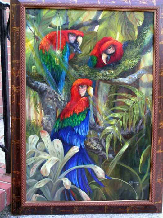 Birds Painting - Three In Paradise by Kathleen Marshall McConnell