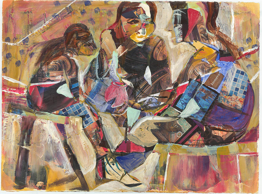 Figurative Painting - Three Is Company by Beena Samuel