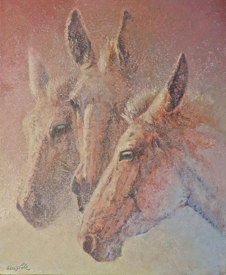 Mules Painting - Three Jacks by Mia DeLode
