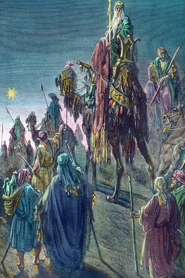 three kings christmas card drawing by gustave dore
