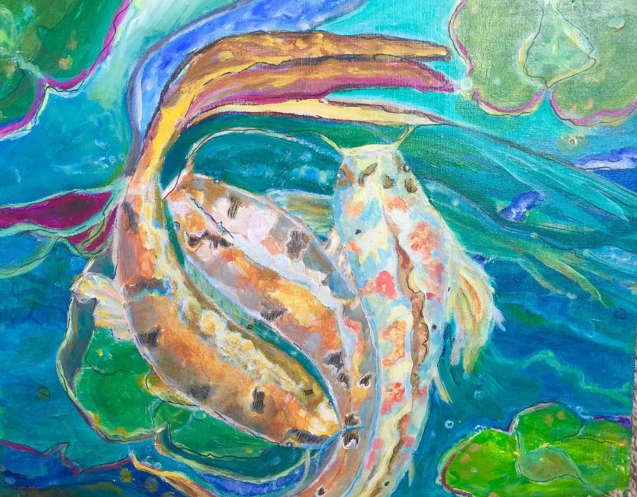 Fish Painting - Three Koi by GM Ryan