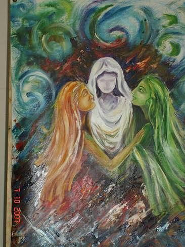 Ladies Painting - Three Ladies by Dr Ruchi Vidyarthi
