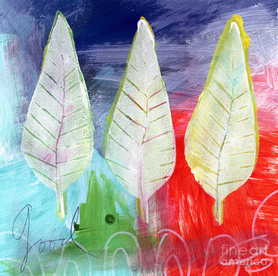 Abstract Painting - Three Leaves Of Good by Linda Woods