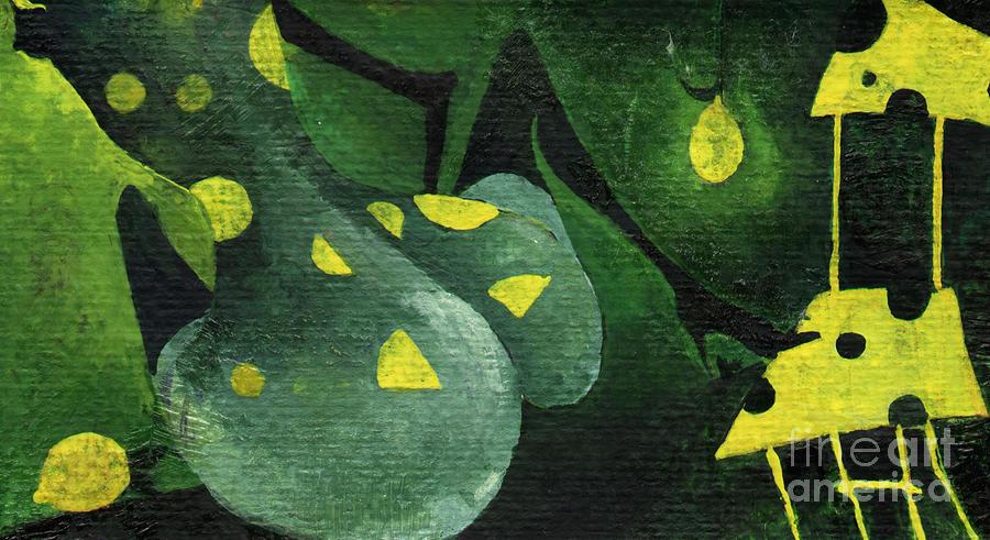 Lemon Painting - Three Lemons by Maya Manolova