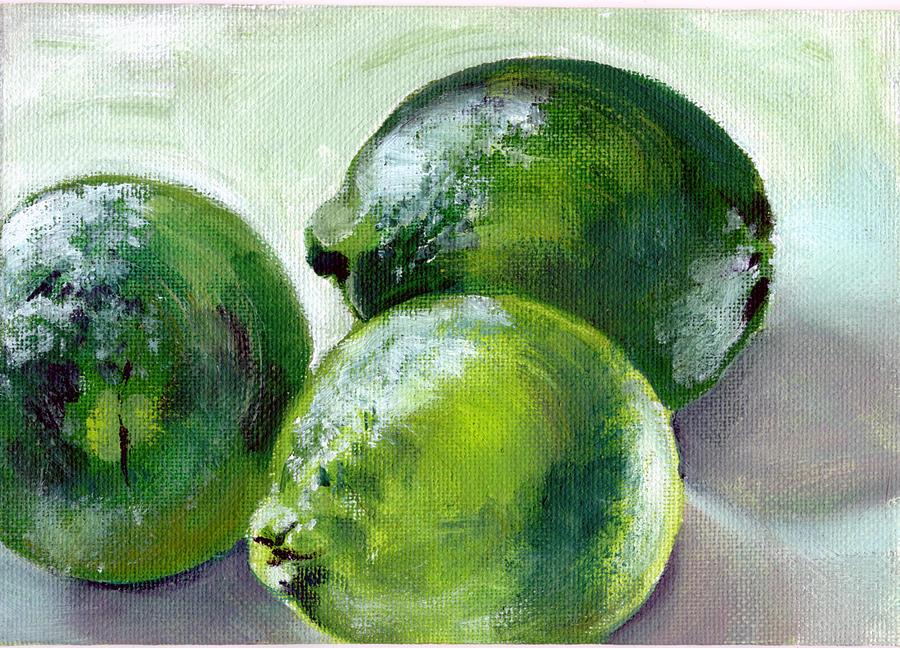 Food Painting - Three Limes by Sarah Lynch