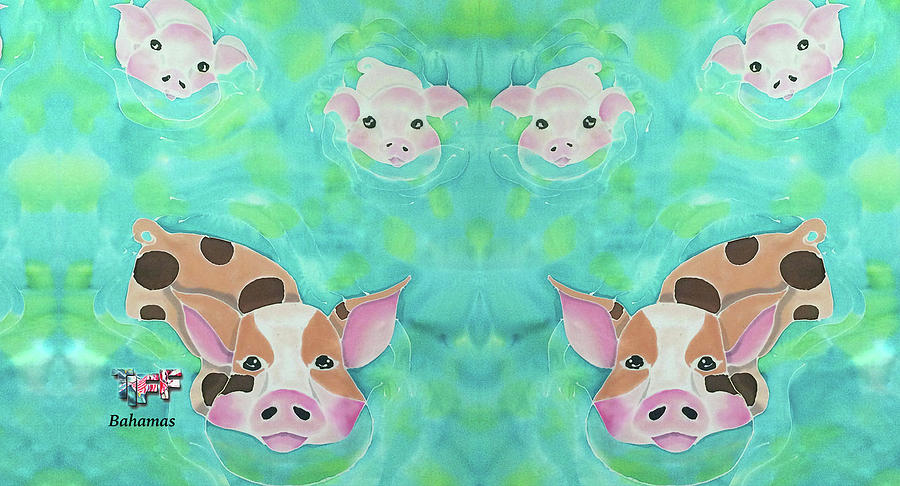 Exuma Bahamas Painting - Swimming Pigs Mug by Tiff