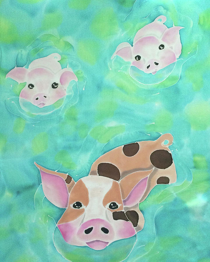 Bahamas Painting - Three Little Pigs  by Tiff