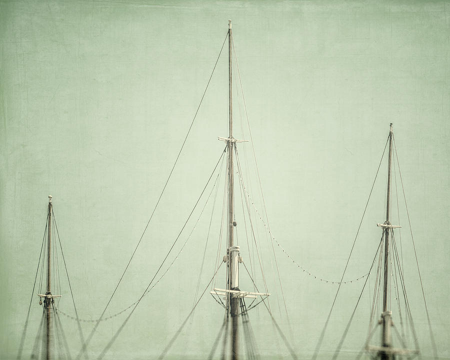 Nautical Photograph - Three Masts by Lisa Russo