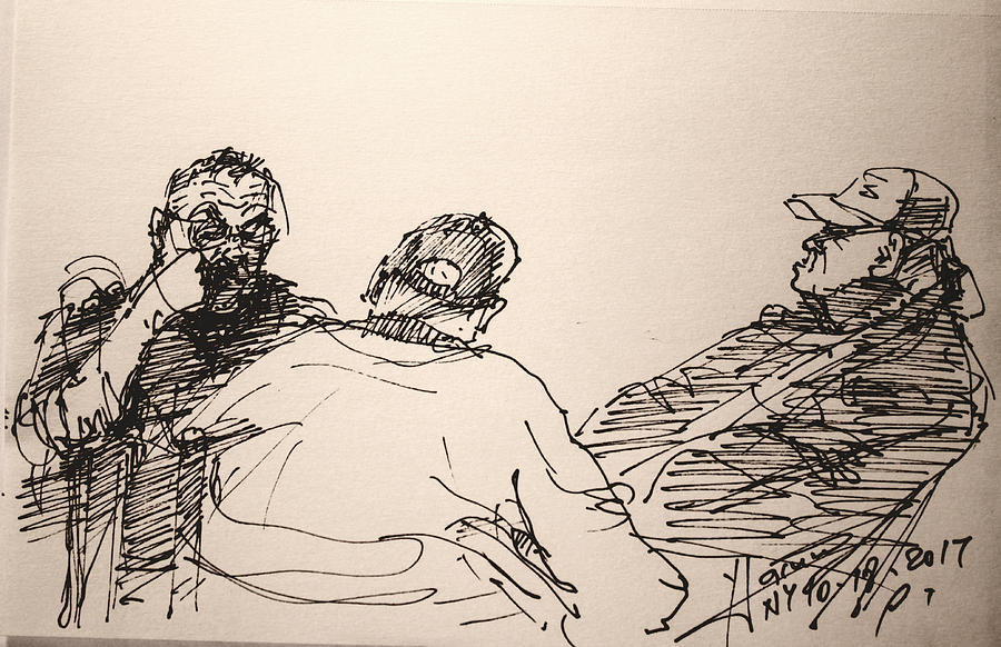 Sketch Drawing - Three Men At Tims by Ylli Haruni