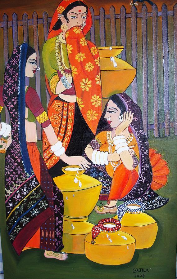Morning Painting - Three Milk Maids  by Sajila Garg