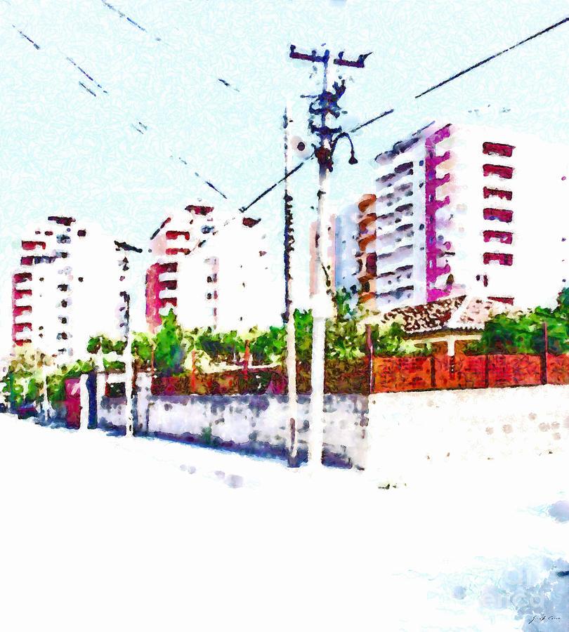 Foreshortening Digital Art - Three Modern Albanian Buildings by Giuseppe Cocco