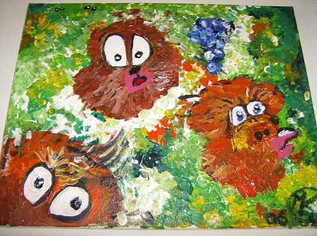 Monkey Painting - Three Monkeys by Michaela Gilt